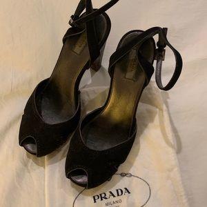 PRADA wooden sandal size 8
